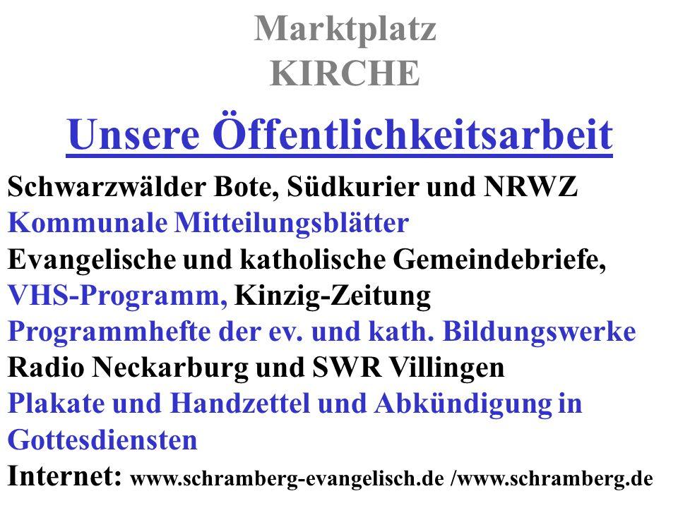 Marktplatz KIRCHE Schwarzwälder Bote, Südkurier und NRWZ Kommunale Mitteilungsblätter Evangelische und katholische Gemeindebriefe, VHS-Programm, Kinzig-Zeitung Programmhefte der ev.