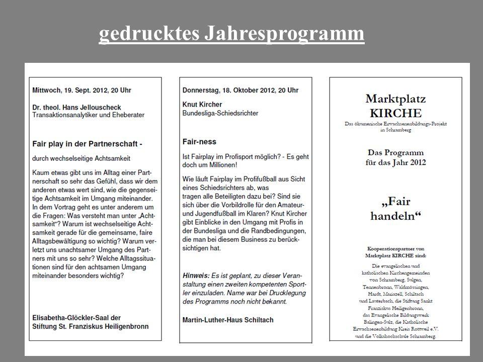 gedrucktes Jahresprogramm