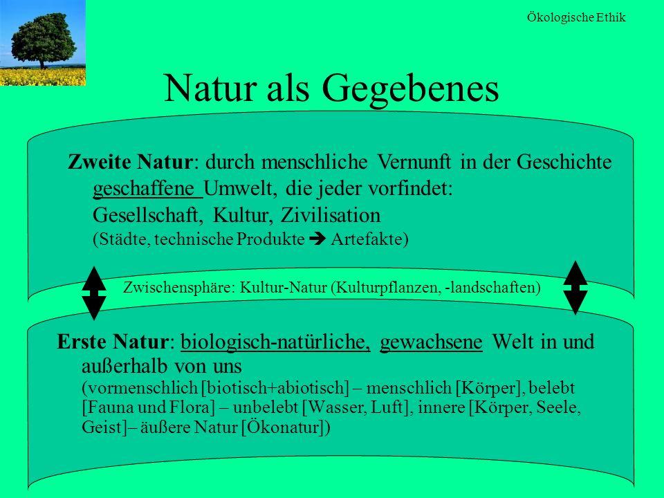 Ökologische Ethik Natur als Gegebenes Erste Natur: biologisch-natürliche, gewachsene Welt in und außerhalb von uns (vormenschlich [biotisch+abiotisch]
