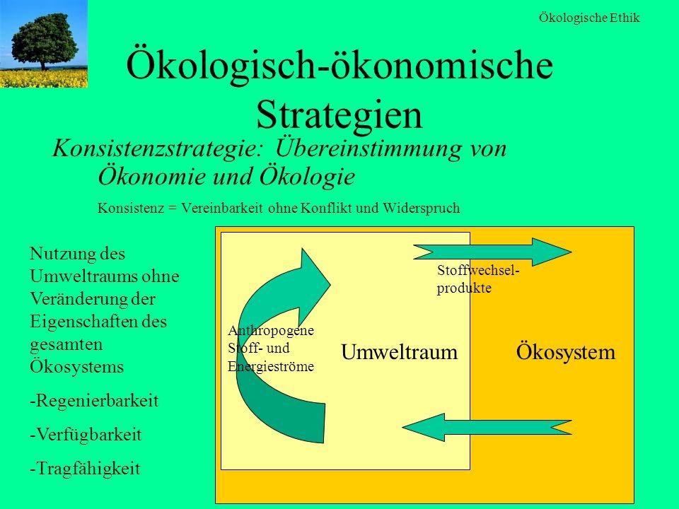Ökologische Ethik Ökologisch-ökonomische Strategien Konsistenzstrategie: Übereinstimmung von Ökonomie und Ökologie Konsistenz = Vereinbarkeit ohne Kon