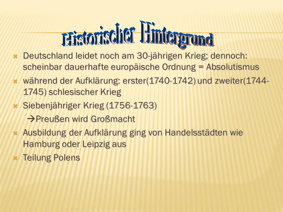 Nach dem Dreißigjährigen Krieg war das Deutsche Reich in viele Territorien zersplittert worden. Es existierten über 300 souveräne Einzelstaaten. Das
