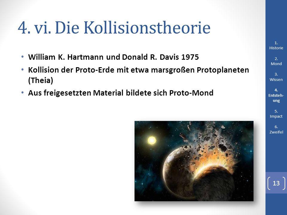 4. vi. Die Kollisionstheorie William K. Hartmann und Donald R. Davis 1975 Kollision der Proto-Erde mit etwa marsgroßen Protoplaneten (Theia) Aus freig