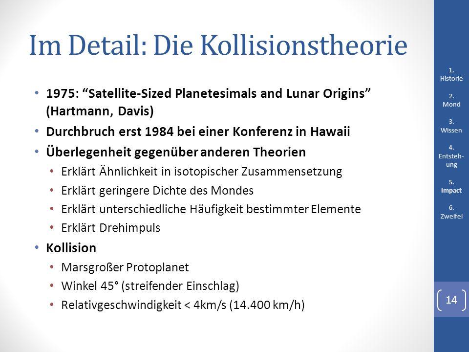 Im Detail: Die Kollisionstheorie 1975: Satellite-Sized Planetesimals and Lunar Origins (Hartmann, Davis) Durchbruch erst 1984 bei einer Konferenz in H