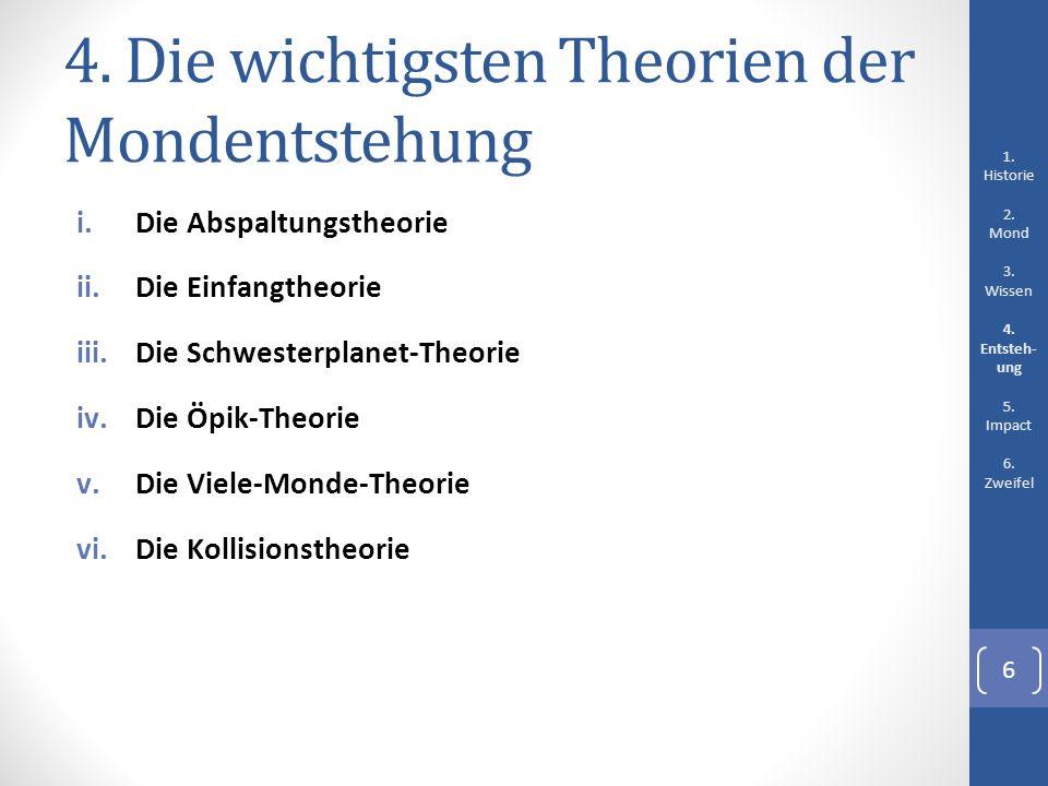 4. Die wichtigsten Theorien der Mondentstehung i.Die Abspaltungstheorie ii.Die Einfangtheorie iii.Die Schwesterplanet-Theorie iv.Die Öpik-Theorie v.Di