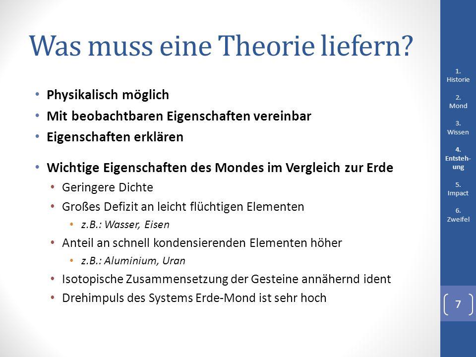 Was muss eine Theorie liefern? Physikalisch möglich Mit beobachtbaren Eigenschaften vereinbar Eigenschaften erklären Wichtige Eigenschaften des Mondes