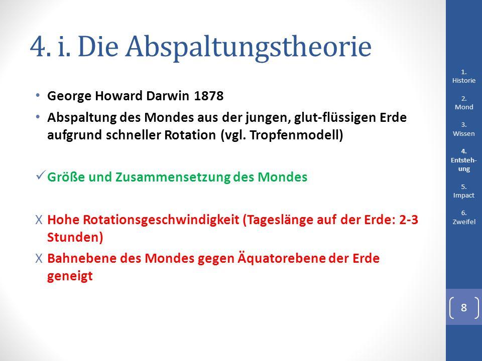 4. i. Die Abspaltungstheorie George Howard Darwin 1878 Abspaltung des Mondes aus der jungen, glut-flüssigen Erde aufgrund schneller Rotation (vgl. Tro