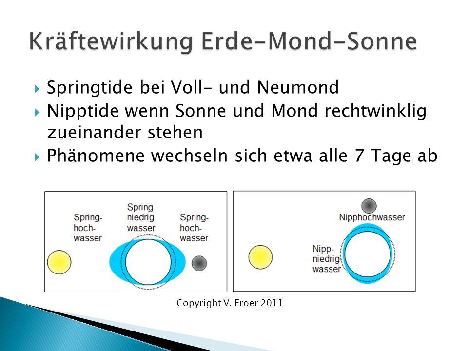 Springtide bei Voll- und Neumond Nipptide wenn Sonne und Mond rechtwinklig zueinander stehen Phänomene wechseln sich etwa alle 7 Tage ab Copyright V.