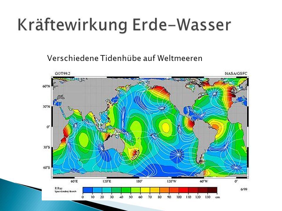 Verschiedene Tidenhübe auf Weltmeeren