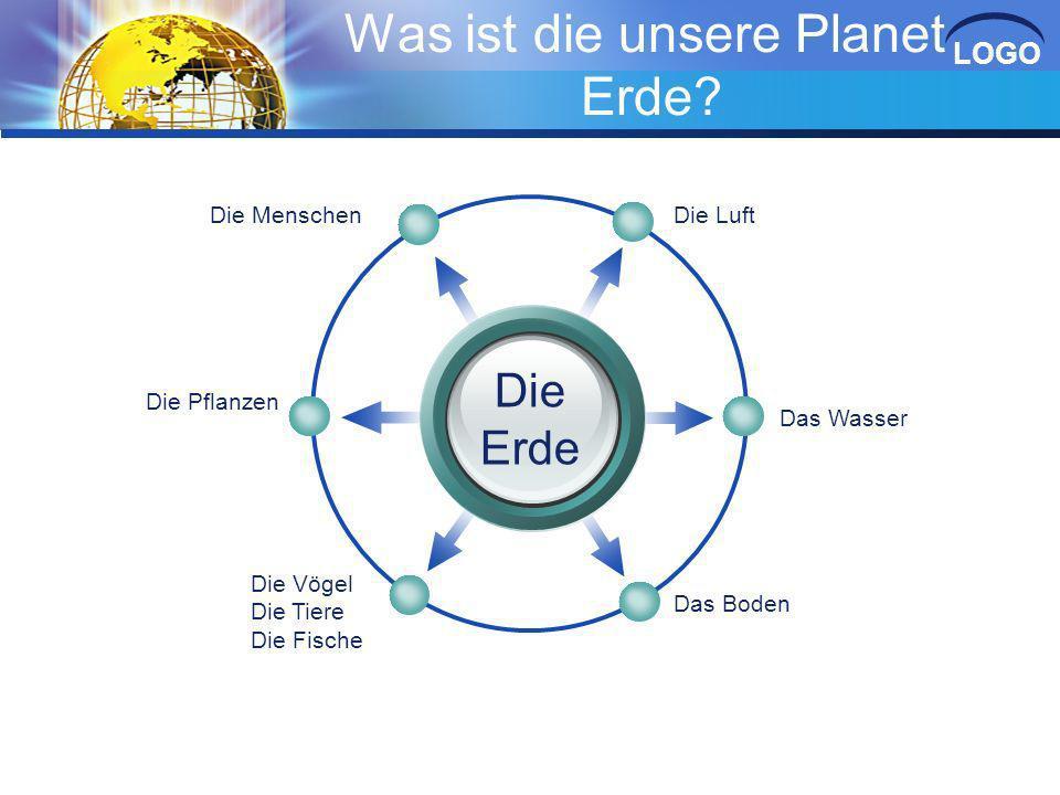LOGO Was ist die unsere Planet Erde? ? Die Luft Die Menschen Das Wasser Das Boden Die Pflanzen Die Vögel Die Tiere Die Fische Die Erde