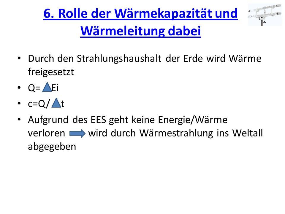 6. Rolle der Wärmekapazität und Wärmeleitung dabei 6. Rolle der Wärmekapazität und Wärmeleitung dabei Durch den Strahlungshaushalt der Erde wird Wärme