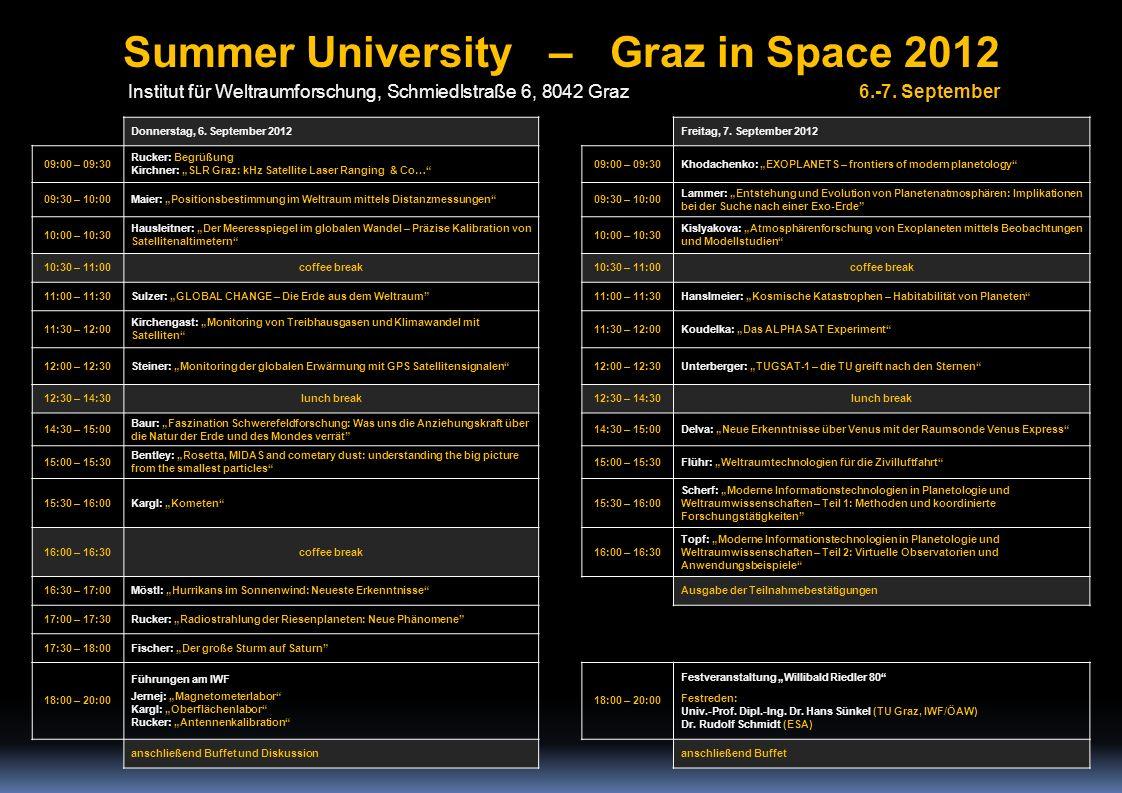 Donnerstag, 6. September 2012 Freitag, 7. September 2012 09:00 – 09:30 Rucker: Begrüßung Kirchner: SLR Graz: kHz Satellite Laser Ranging & Co… 09:00 –