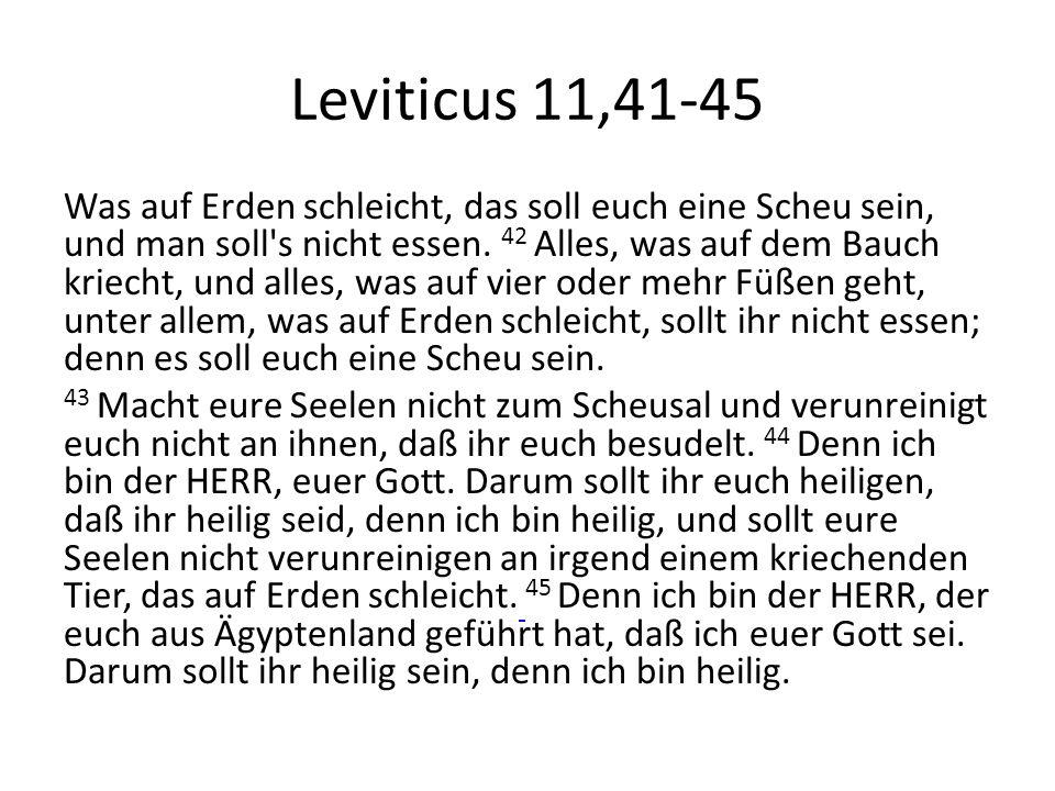 Leviticus 11,41-45 Was auf Erden schleicht, das soll euch eine Scheu sein, und man soll's nicht essen. 42 Alles, was auf dem Bauch kriecht, und alles,