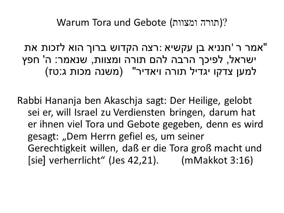 Warum Tora und Gebote ( תורה ומצוות )?