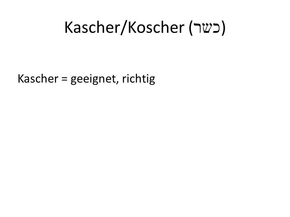 Kascher/Koscher ( כשר ) Kascher = geeignet, richtig