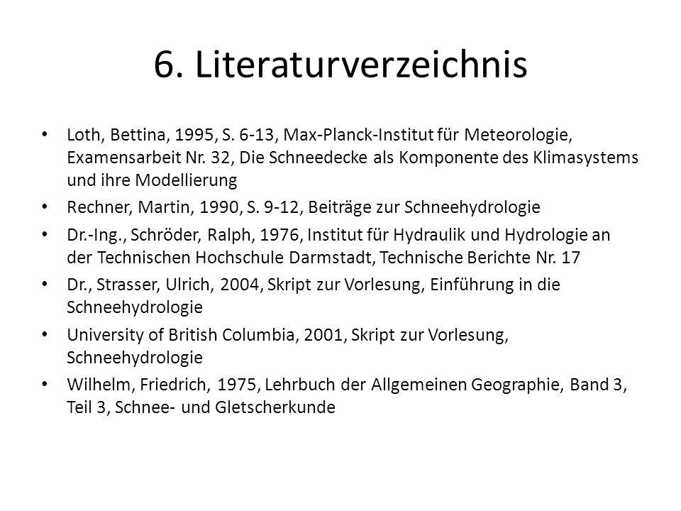 6. Literaturverzeichnis Loth, Bettina, 1995, S. 6-13, Max-Planck-Institut für Meteorologie, Examensarbeit Nr. 32, Die Schneedecke als Komponente des K