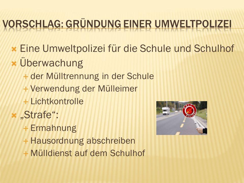 Eine Umweltpolizei für die Schule und Schulhof Überwachung der Mülltrennung in der Schule Verwendung der Mülleimer Lichtkontrolle Strafe: Ermahnung Ha