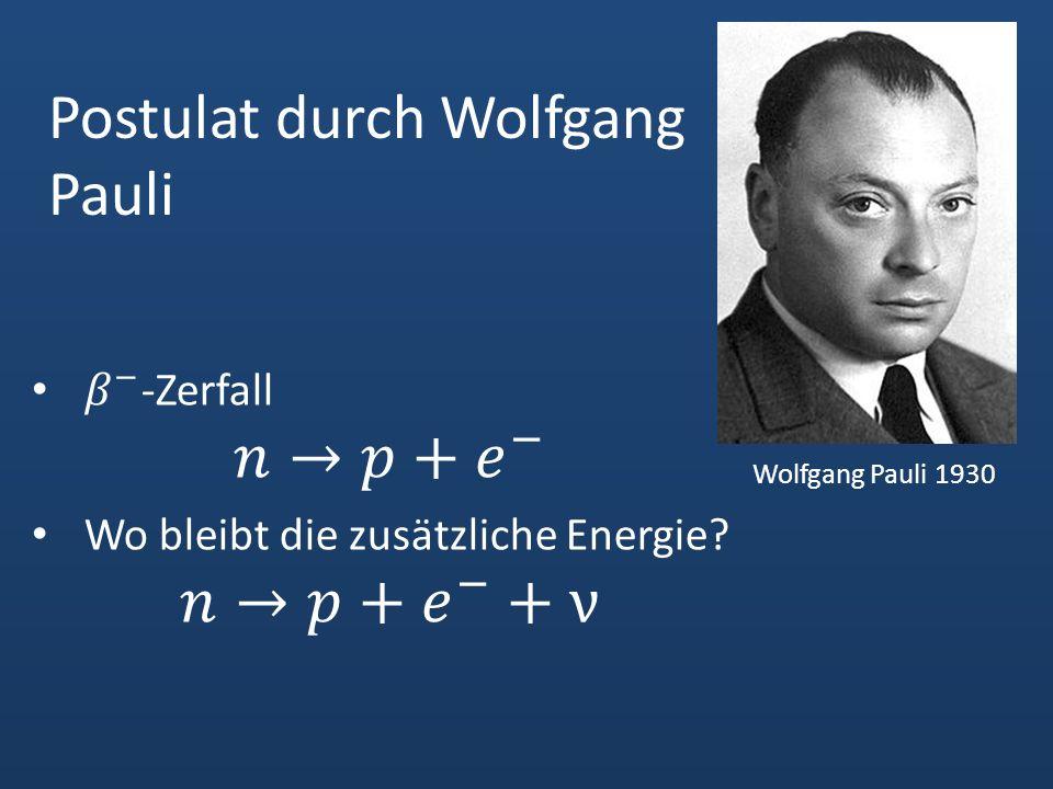 Postulat durch Wolfgang Pauli Wolfgang Pauli 1930