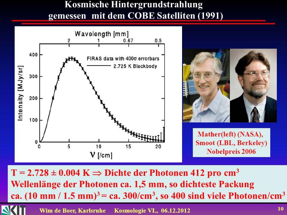 Wim de Boer, KarlsruheKosmologie VL, 06.12.2012 9 The COBE satellite: first precision CMB experiment