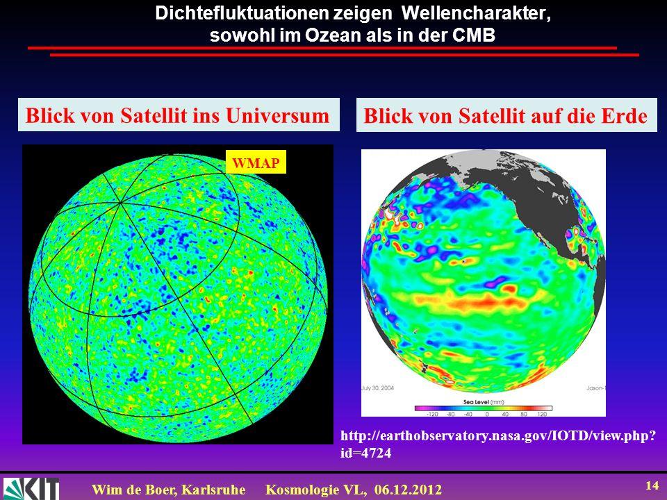 Wim de Boer, KarlsruheKosmologie VL, 06.12.2012 13 Temperatur-Fluktuationen = Dichtefluktuationen WMAP vs COBE 45 times sensitivity WMAP ΔT/T 200uK/2.7K