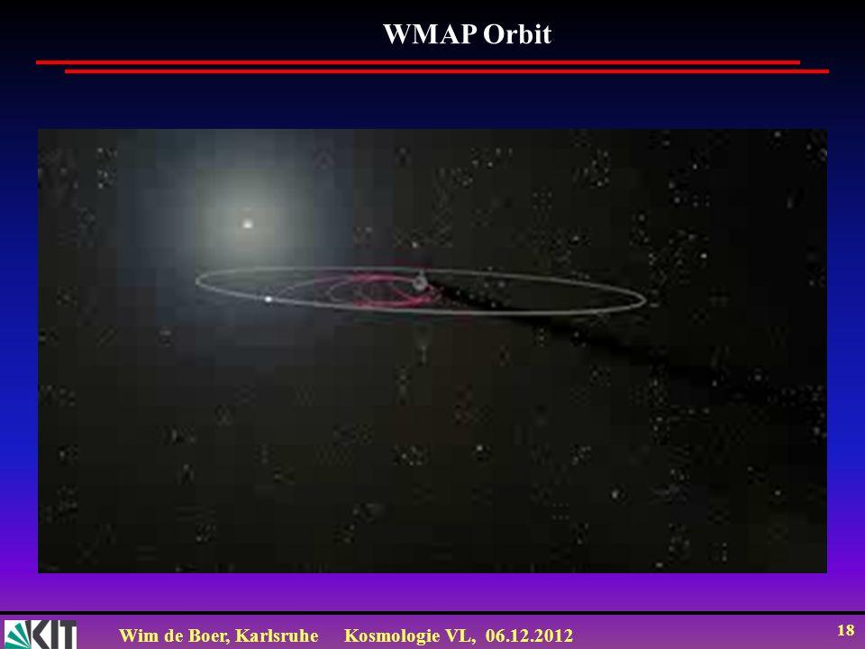Wim de Boer, KarlsruheKosmologie VL, 06.12.2012 17 WMAP: ein Fernsehschüssel zur Beobachtung des frühen Universums WMAP: 1,5 Millionen km von der Erde entfernt (3 Monate Reisezeit, Beobachtung täglich seit 2001) ©NASA Science Team