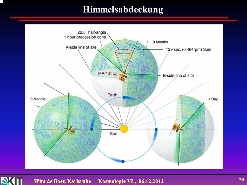 Wim de Boer, KarlsruheKosmologie VL, 06.12.2012 19 WMAP spinning to cover full sky