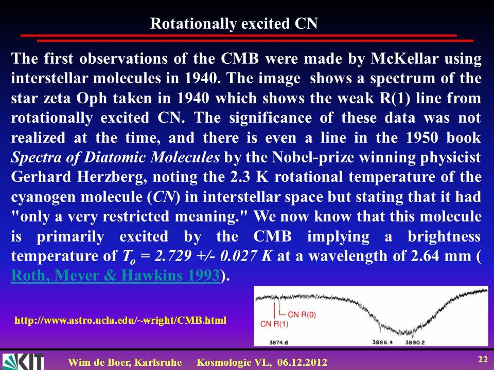 Wim de Boer, KarlsruheKosmologie VL, 06.12.2012 21 WMAP Elektronik HEMT= High Electron Mobility Transistors (100 GHz)