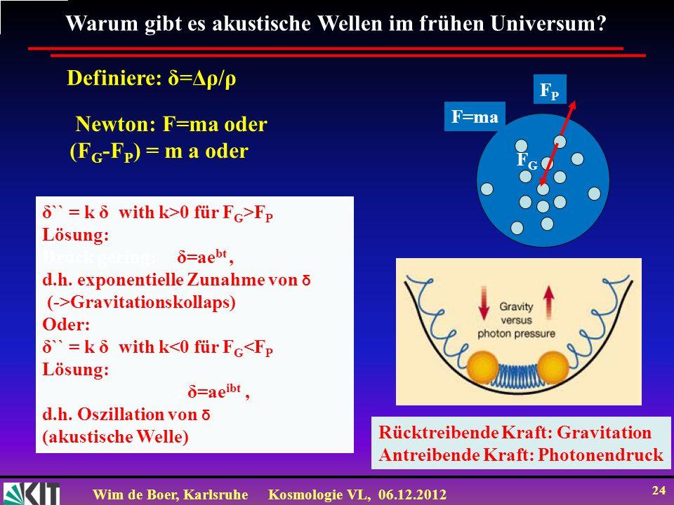 Wim de Boer, KarlsruheKosmologie VL, 06.12.2012 23 Warum ist die CMB so wichtig in der Kosmologie.