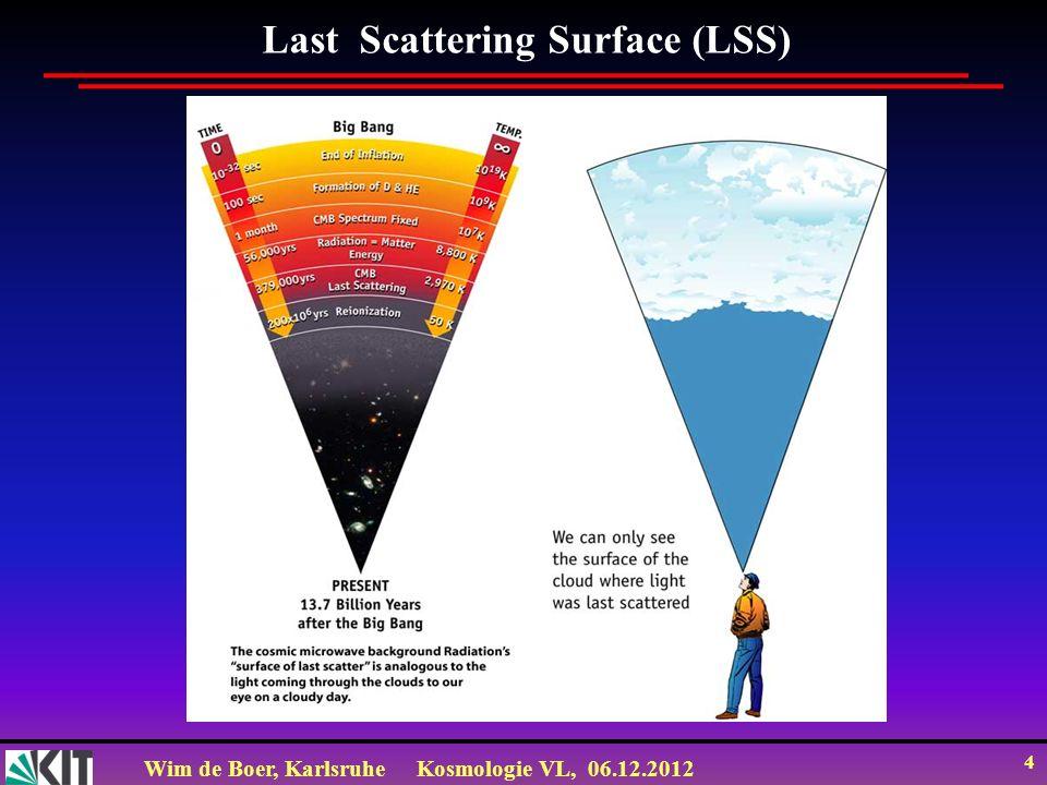 Wim de Boer, KarlsruheKosmologie VL, 06.12.2012 14 Dichtefluktuationen zeigen Wellencharakter, sowohl im Ozean als in der CMB WMAP http://earthobservatory.nasa.gov/IOTD/view.php.