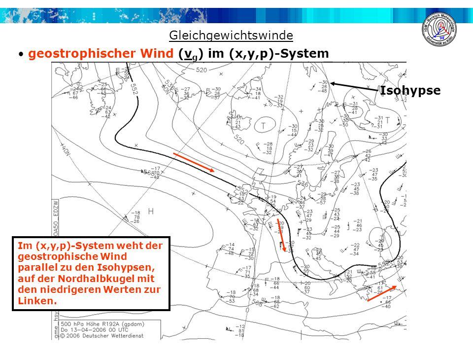 Gleichgewichtswinde geostrophischer Wind (v g ) im (x,y,p)-System Im (x,y,p)-System weht der geostrophische Wind parallel zu den Isohypsen, auf der No