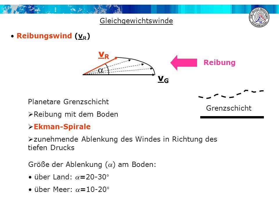 Planetare Grenzschicht Reibung mit dem Boden Ekman-Spirale zunehmende Ablenkung des Windes in Richtung des tiefen Drucks Gleichgewichtswinde Reibungsw