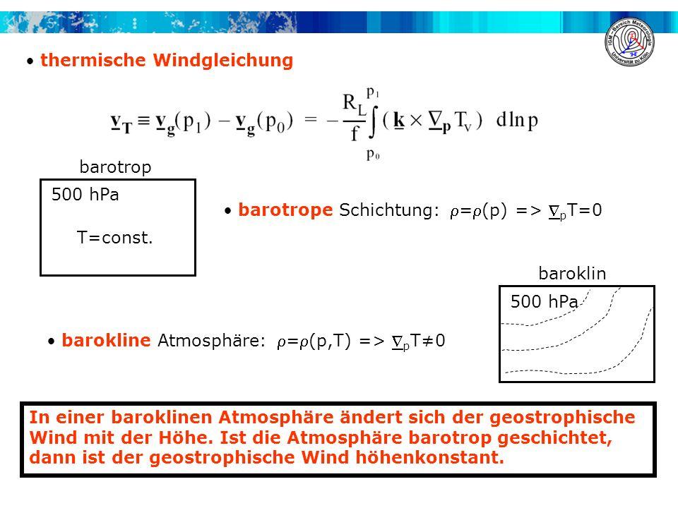 thermische Windgleichung In einer baroklinen Atmosphäre ändert sich der geostrophische Wind mit der Höhe. Ist die Atmosphäre barotrop geschichtet, dan