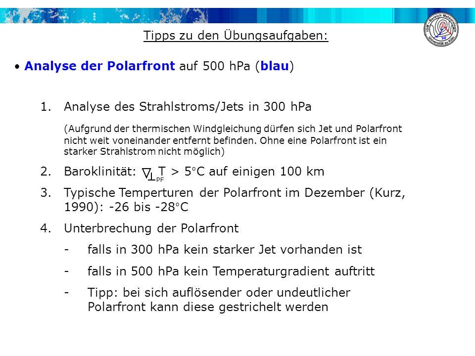1.Analyse des Strahlstroms/Jets in 300 hPa (Aufgrund der thermischen Windgleichung dürfen sich Jet und Polarfront nicht weit voneinander entfernt befi