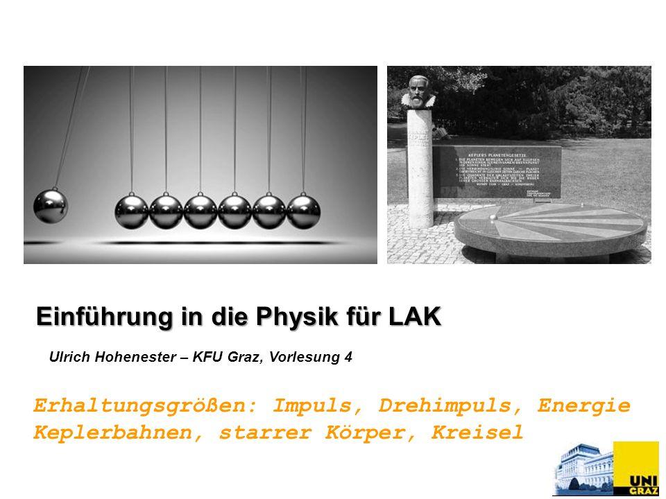 Ulrich Hohenester – KFU Graz, Vorlesung 4 Erhaltungsgrößen: Impuls, Drehimpuls, Energie Keplerbahnen, starrer Körper, Kreisel Einführung in die Physik