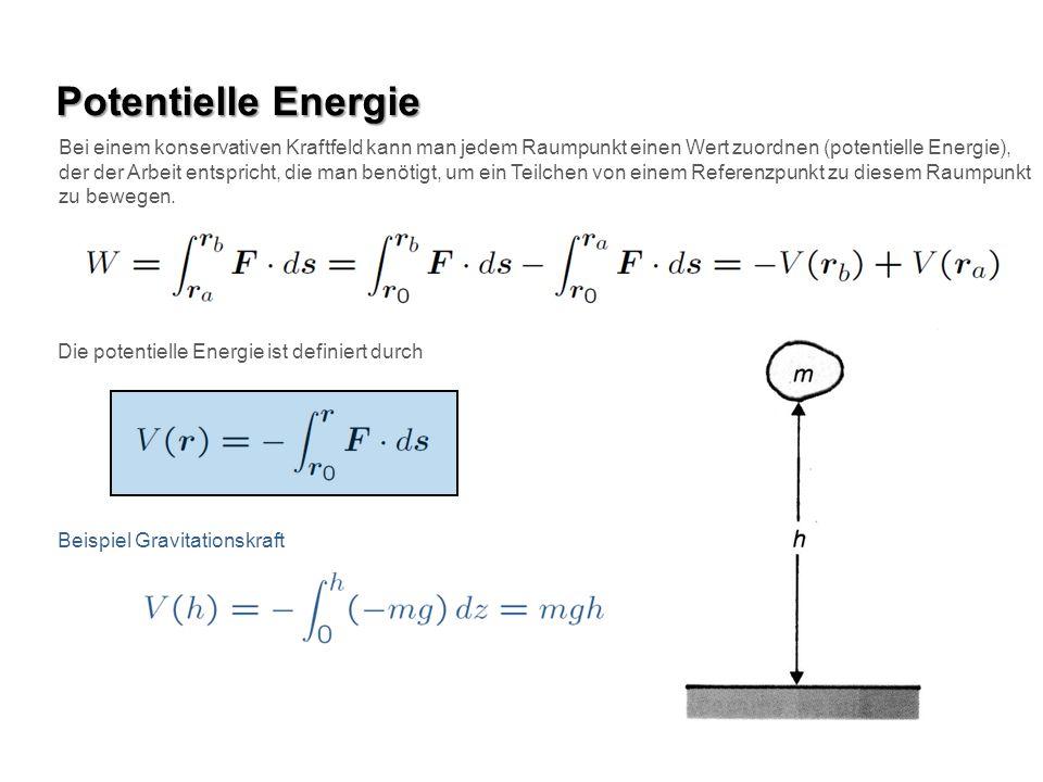 Potentielle Energie Die potentielle Energie ist definiert durch Beispiel Gravitationskraft Bei einem konservativen Kraftfeld kann man jedem Raumpunkt