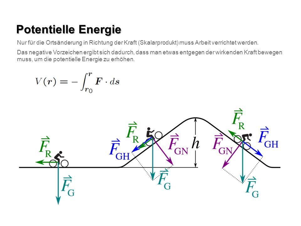 Potentielle Energie Nur für die Ortsänderung in Richtung der Kraft (Skalarprodukt) muss Arbeit verrichtet werden. Das negative Vorzeichen ergibt sich