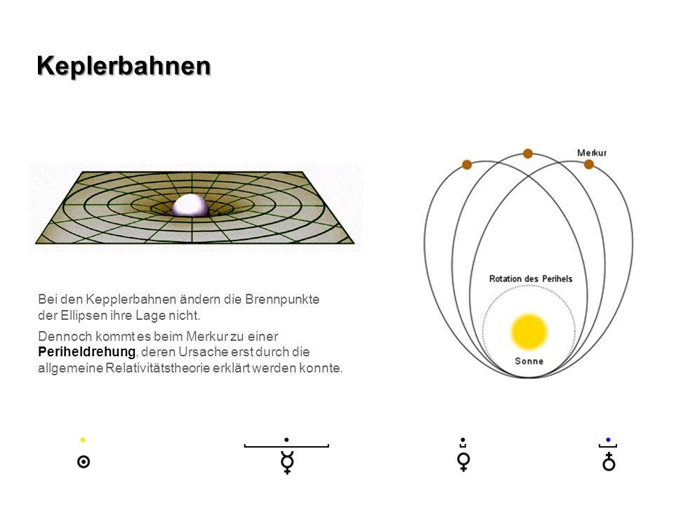 Keplerbahnen Bei den Kepplerbahnen ändern die Brennpunkte der Ellipsen ihre Lage nicht. Dennoch kommt es beim Merkur zu einer Periheldrehung, deren Ur