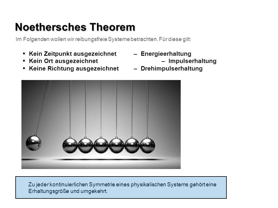 Noethersches Theorem Kein Zeitpunkt ausgezeichnet – Energieerhaltung Kein Ort ausgezeichnet – Impulserhaltung Keine Richtung ausgezeichnet – Drehimpul