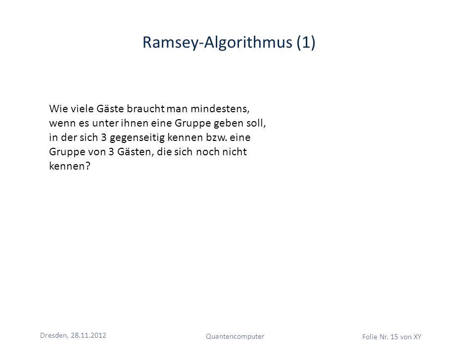 Dresden, 28.11.2012 Quantencomputer Folie Nr. 15 von XY Ramsey-Algorithmus (1) Wie viele Gäste braucht man mindestens, wenn es unter ihnen eine Gruppe