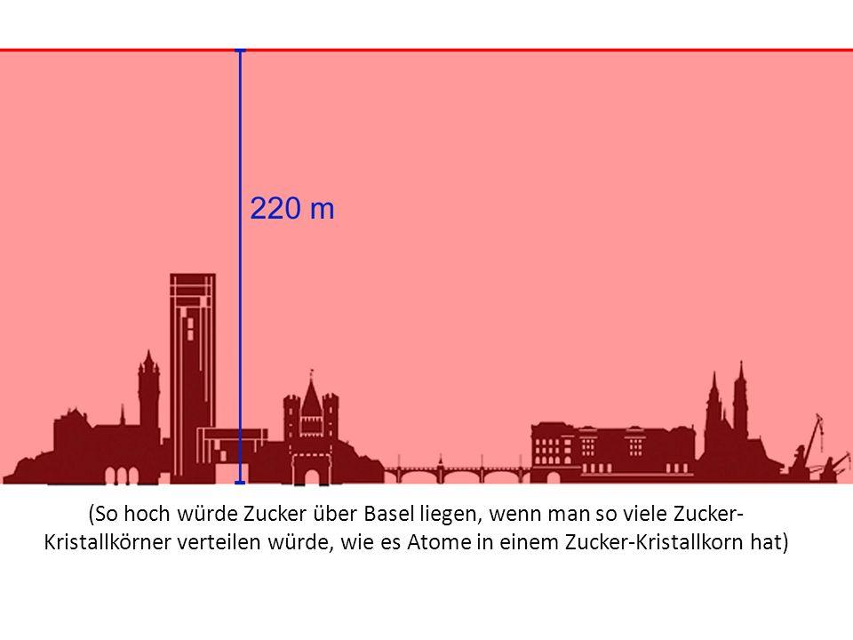 (So hoch würde Zucker über Basel liegen, wenn man so viele Zucker- Kristallkörner verteilen würde, wie es Atome in einem Zucker-Kristallkorn hat)