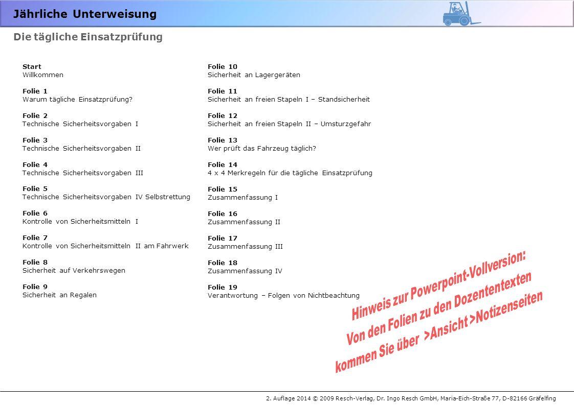 Jährliche Unterweisung 2.Auflage 2014 © 2009 Resch-Verlag, Dr.
