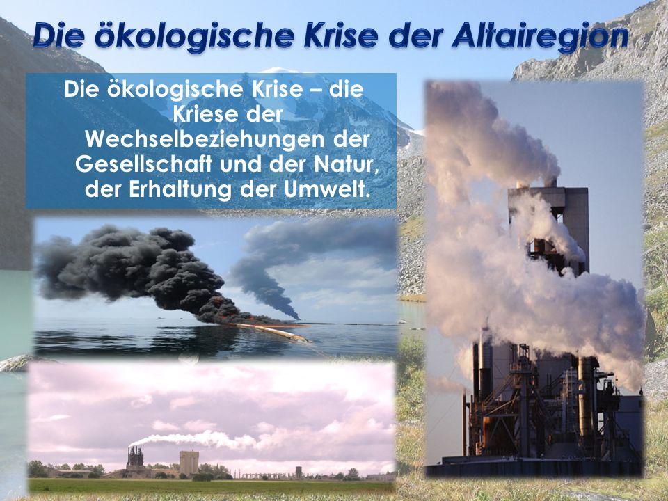 Die ökologische Krise – die Kriese der Wechselbeziehungen der Gesellschaft und der Natur, der Erhaltung der Umwelt.
