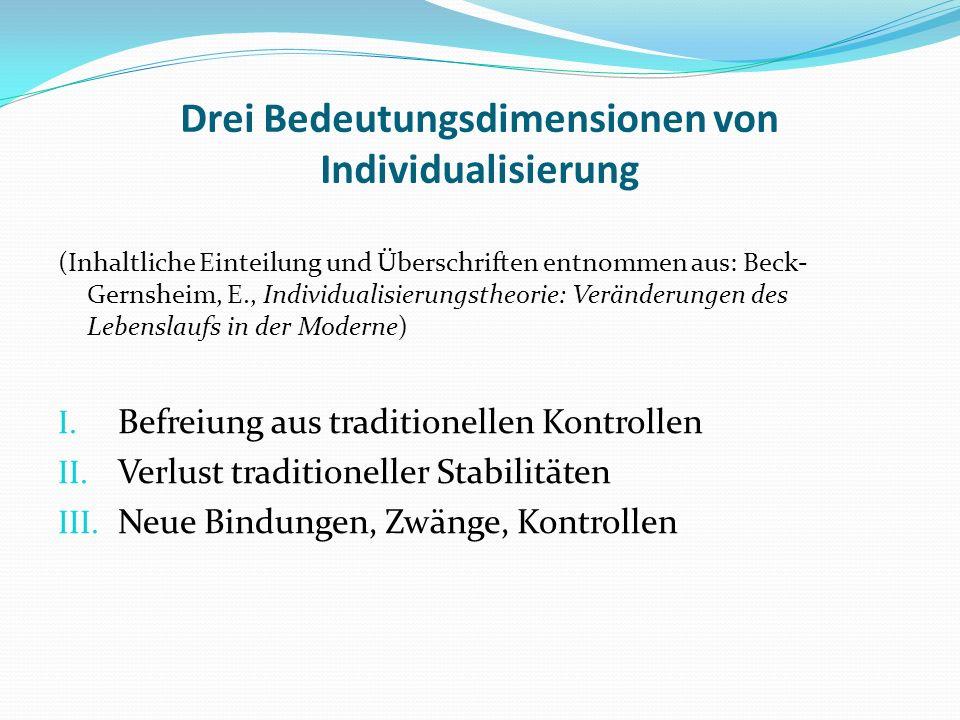 Drei Bedeutungsdimensionen von Individualisierung (Inhaltliche Einteilung und Überschriften entnommen aus: Beck- Gernsheim, E., Individualisierungstheorie: Veränderungen des Lebenslaufs in der Moderne) I.