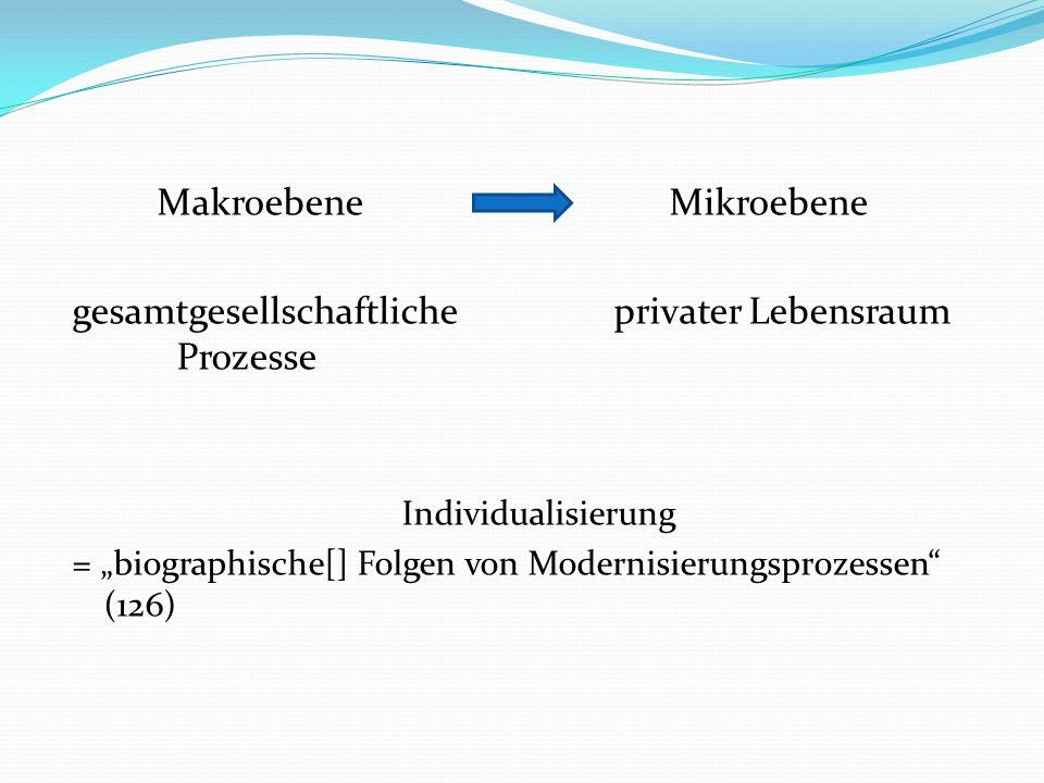 Makroebene Mikroebene gesamtgesellschaftliche privater Lebensraum Prozesse Individualisierung = biographische[] Folgen von Modernisierungsprozessen (126)