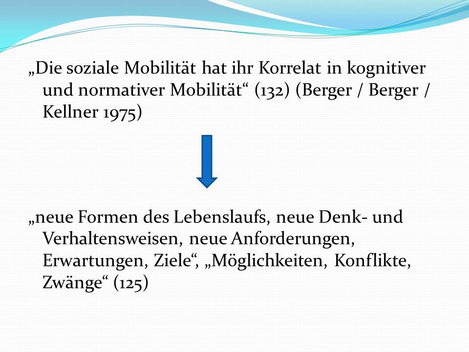 Die soziale Mobilität hat ihr Korrelat in kognitiver und normativer Mobilität (132) (Berger / Berger / Kellner 1975) neue Formen des Lebenslaufs, neue Denk- und Verhaltensweisen, neue Anforderungen, Erwartungen, Ziele, Möglichkeiten, Konflikte, Zwänge (125)