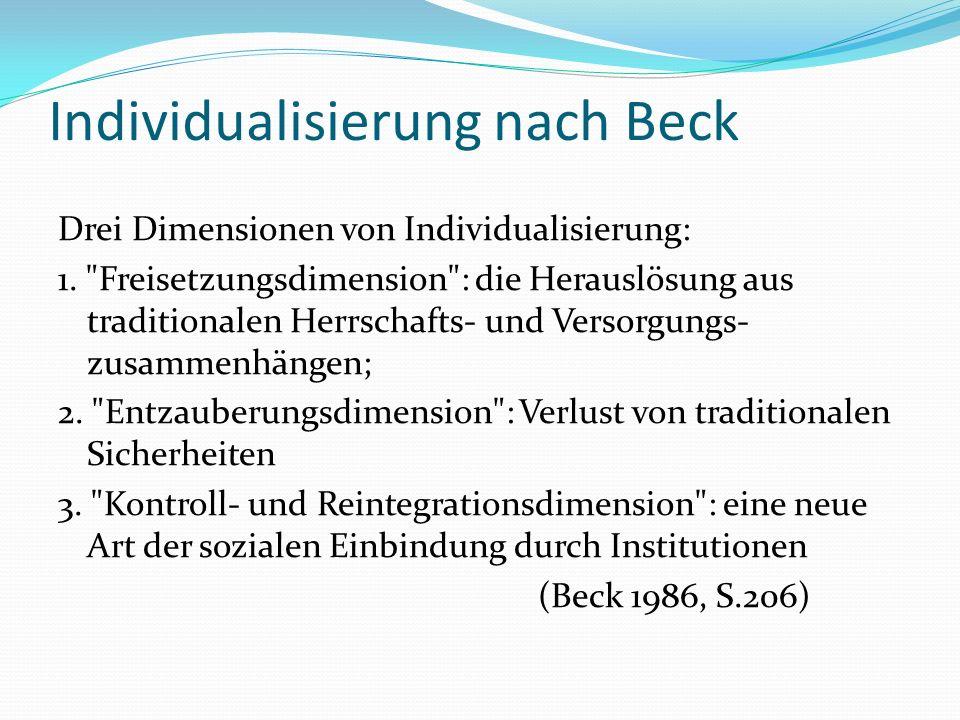 Individualisierung nach Beck Drei Dimensionen von Individualisierung: 1.