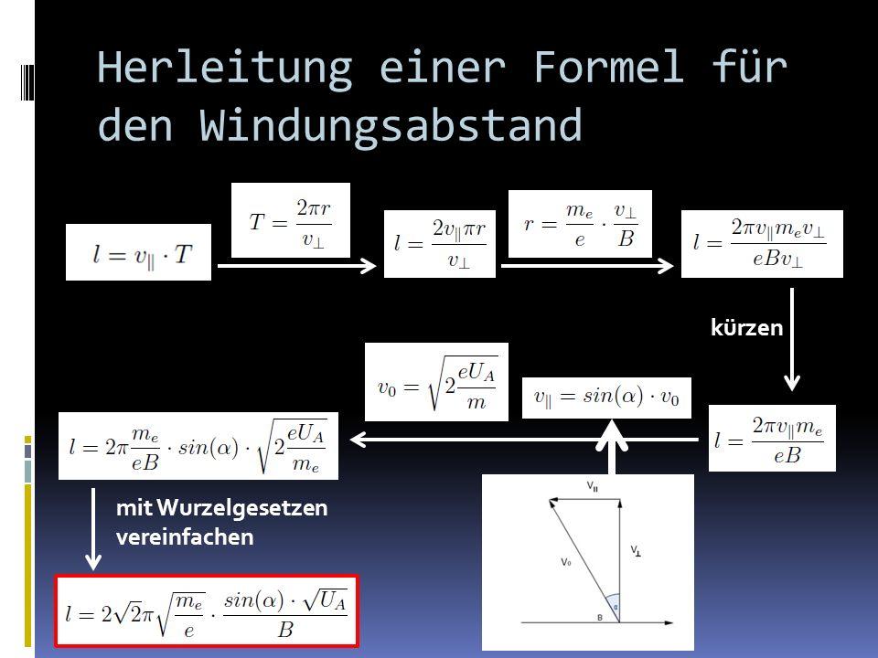 Herleitung einer Formel für den Windungsabstand kürzen mit Wurzelgesetzen vereinfachen