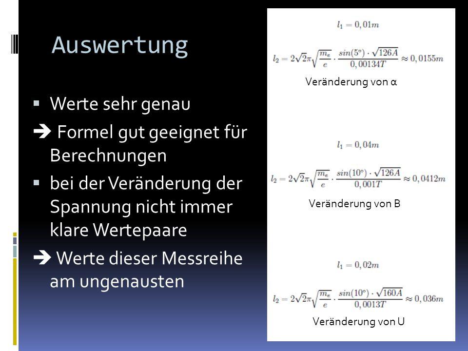 Auswertung Werte sehr genau Formel gut geeignet für Berechnungen bei der Veränderung der Spannung nicht immer klare Wertepaare Werte dieser Messreihe am ungenausten Veränderung von α Veränderung von B Veränderung von U