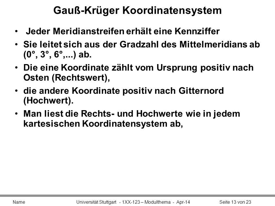 Gauß-Krüger Koordinatensystem Jeder Meridianstreifen erhält eine Kennziffer Sie leitet sich aus der Gradzahl des Mittelmeridians ab (0°, 3°, 6°,...) ab.