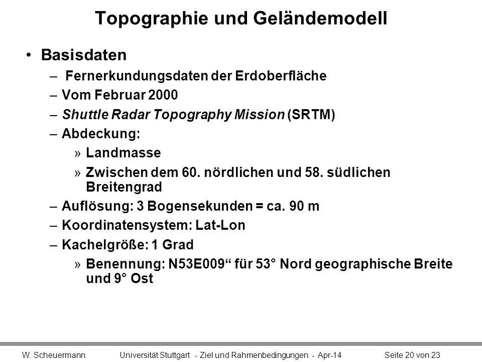 Topographie und Geländemodell Basisdaten – Fernerkundungsdaten der Erdoberfläche –Vom Februar 2000 –Shuttle Radar Topography Mission (SRTM) –Abdeckung: »Landmasse »Zwischen dem 60.