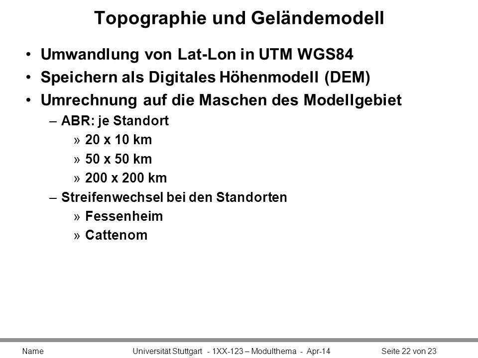 Topographie und Geländemodell Umwandlung von Lat-Lon in UTM WGS84 Speichern als Digitales Höhenmodell (DEM) Umrechnung auf die Maschen des Modellgebiet –ABR: je Standort »20 x 10 km »50 x 50 km »200 x 200 km –Streifenwechsel bei den Standorten »Fessenheim »Cattenom Name Universität Stuttgart - 1XX-123 – Modulthema - Apr-14Seite 22 von 23